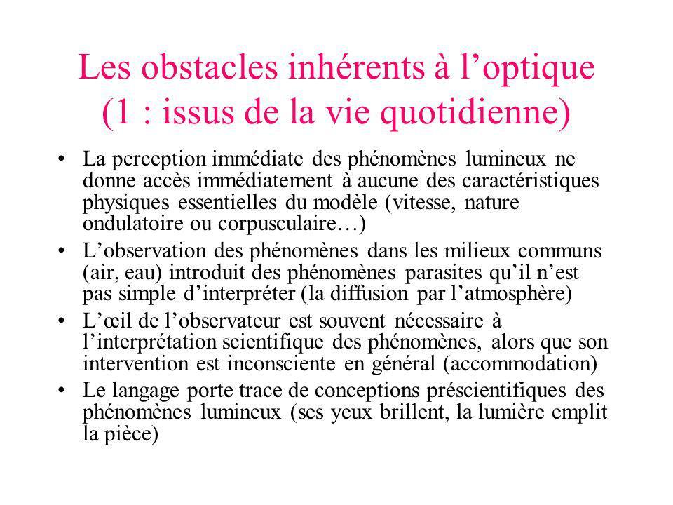 Les obstacles inhérents à loptique (1 : issus de la vie quotidienne) La perception immédiate des phénomènes lumineux ne donne accès immédiatement à au