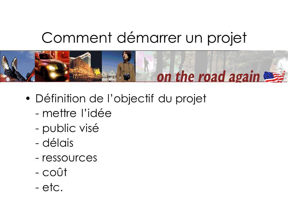 Comment démarrer un projet Définition de lobjectif du projet - mettre lidée - public visé - délais - ressources - coût - etc.
