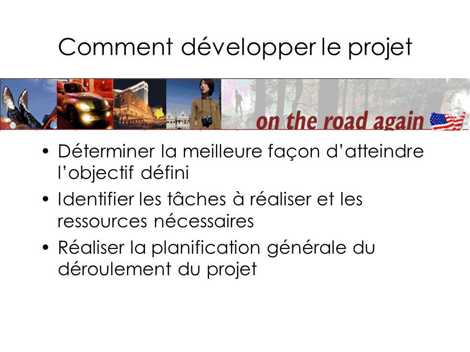 Comment développer le projet Déterminer la meilleure façon datteindre lobjectif défini Identifier les tâches à réaliser et les ressources nécessaires Réaliser la planification générale du déroulement du projet