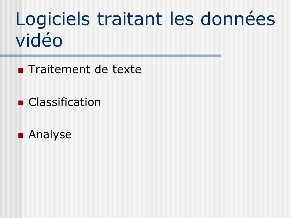 Logiciels traitant les données vidéo Traitement de texte Classification Analyse