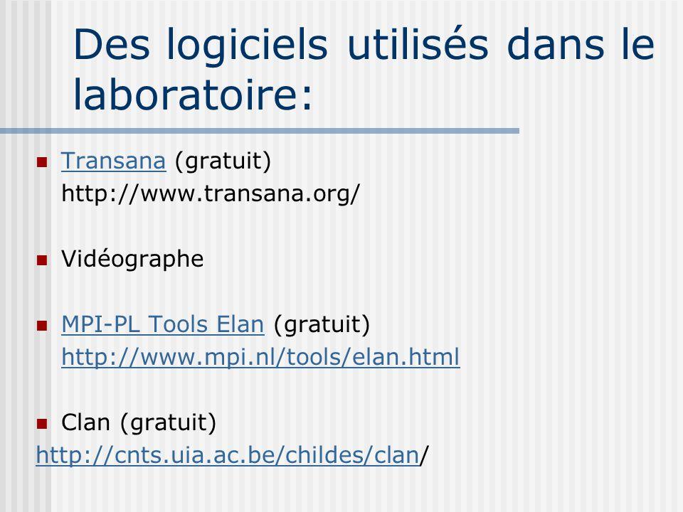 Des logiciels utilisés dans le laboratoire: Transana (gratuit) Transana http://www.transana.org/ Vidéographe MPI-PL Tools Elan (gratuit) MPI-PL Tools