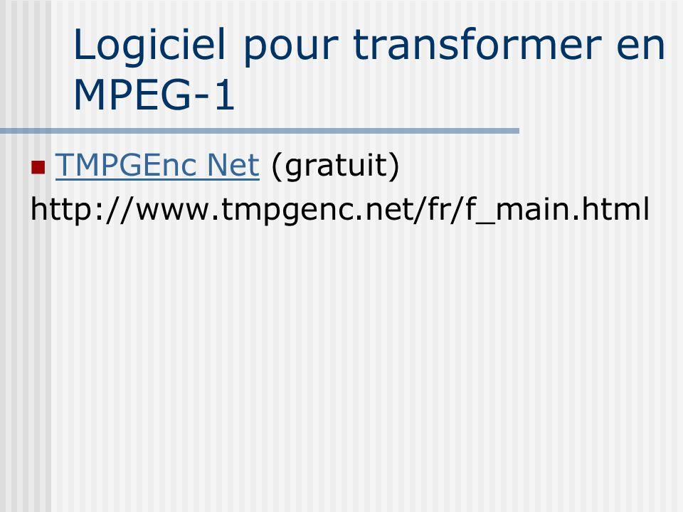 Logiciel pour transformer en MPEG-1 TMPGEnc Net (gratuit) TMPGEnc Net http://www.tmpgenc.net/fr/f_main.html