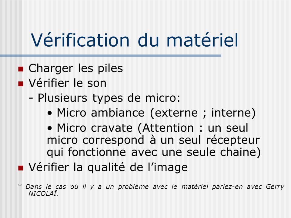 Vérification du matériel Charger les piles Vérifier le son - Plusieurs types de micro: Micro ambiance (externe ; interne) Micro cravate (Attention : u
