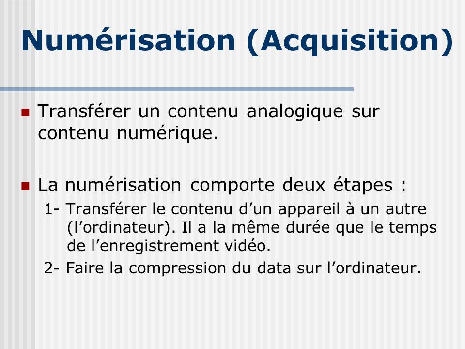 Numérisation (Acquisition) Transférer un contenu analogique sur contenu numérique. La numérisation comporte deux étapes : 1- Transférer le contenu dun
