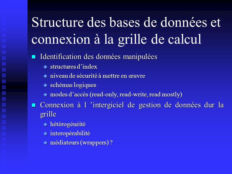 Structure des bases de données et connexion à la grille de calcul n Identification des données manipulées u structures dindex u niveau de sécurité à m