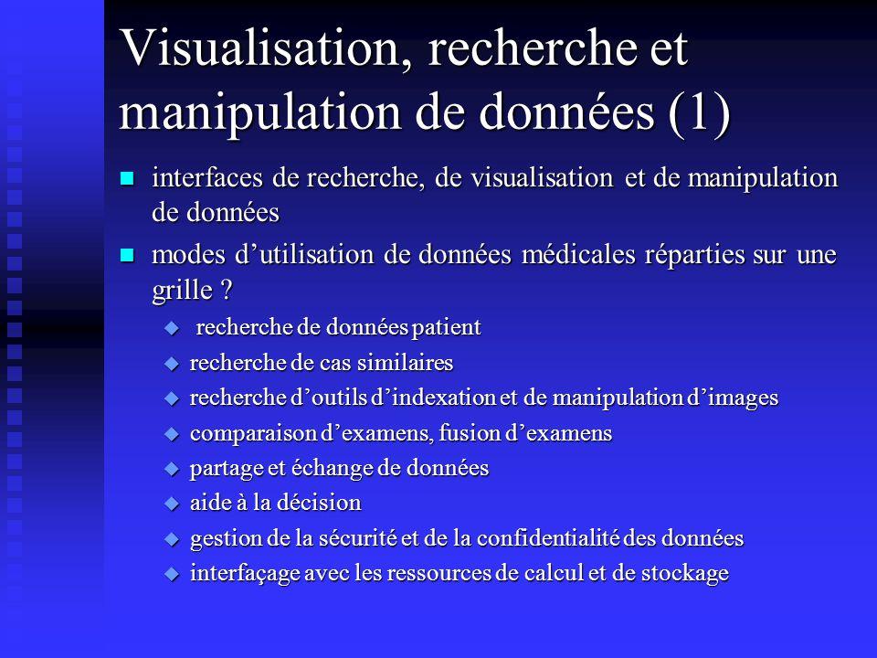 Visualisation, recherche et manipulation de données (1) n interfaces de recherche, de visualisation et de manipulation de données n modes dutilisation de données médicales réparties sur une grille .