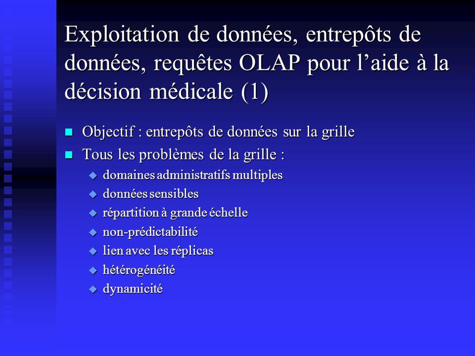 Exploitation de données, entrepôts de données, requêtes OLAP pour laide à la décision médicale (2) n n Entrepôts virtuels u u un schéma commun u u un ensemble de vues partielles matéralisées au niveau local n n Modélisation multidimensionnelle de données médicales complexes n n Accès aux données n n Requêtes d analyse OLAP