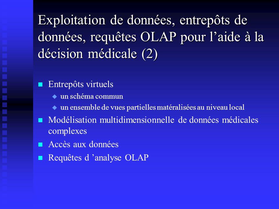 Exploitation de données, entrepôts de données, requêtes OLAP pour laide à la décision médicale (2) n n Entrepôts virtuels u u un schéma commun u u un