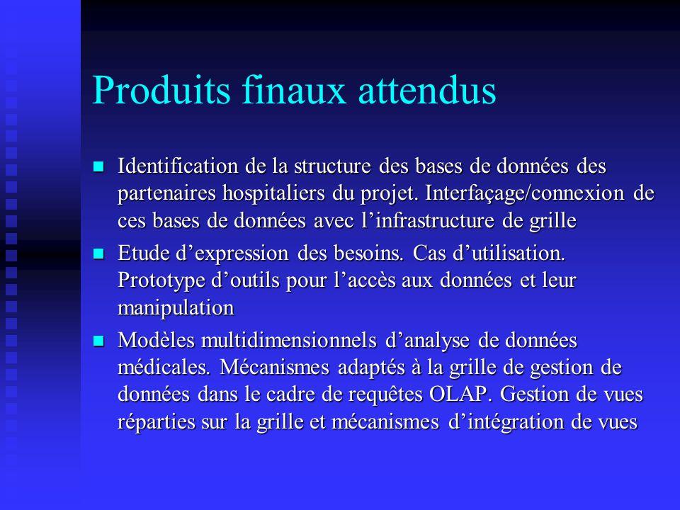 Produits finaux attendus n Identification de la structure des bases de données des partenaires hospitaliers du projet. Interfaçage/connexion de ces ba