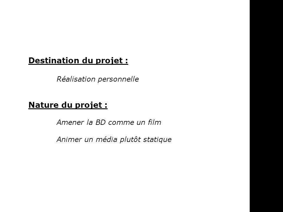 Destination du projet : Réalisation personnelle Nature du projet : Amener la BD comme un film Animer un média plutôt statique