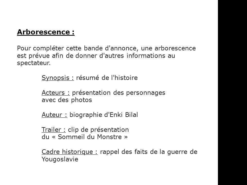 Arborescence : Pour compléter cette bande d annonce, une arborescence est prévue afin de donner d autres informations au spectateur.