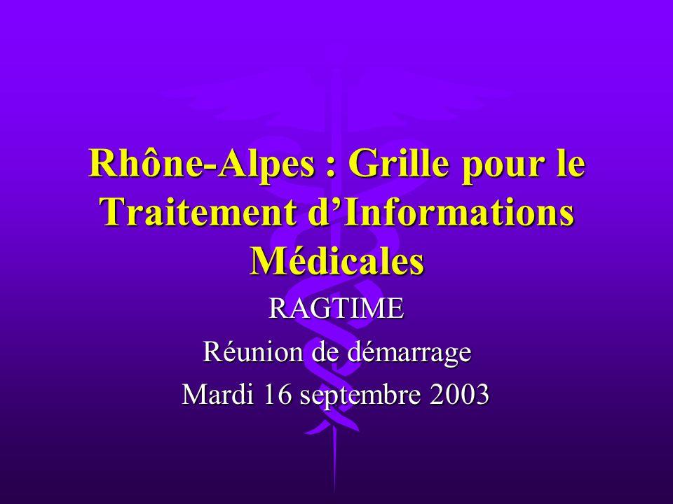 Rhône-Alpes : Grille pour le Traitement dInformations Médicales RAGTIME Réunion de démarrage Mardi 16 septembre 2003