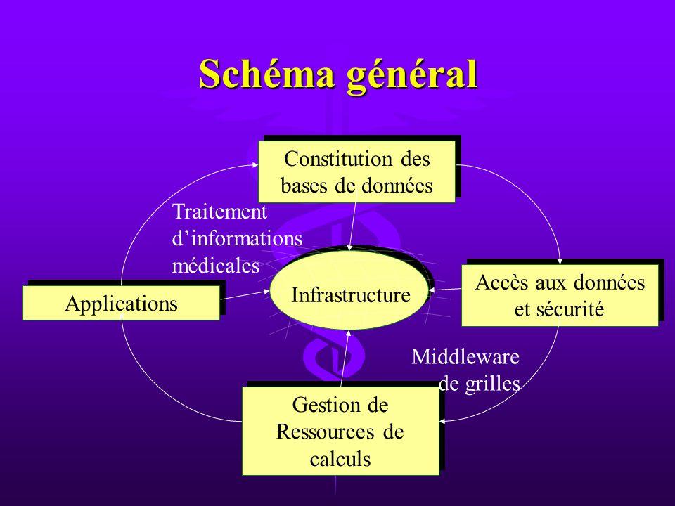 Schéma général Constitution des bases de données Applications Accès aux données et sécurité Gestion de Ressources de calculs Infrastructure Traitement dinformations médicales Middleware de grilles