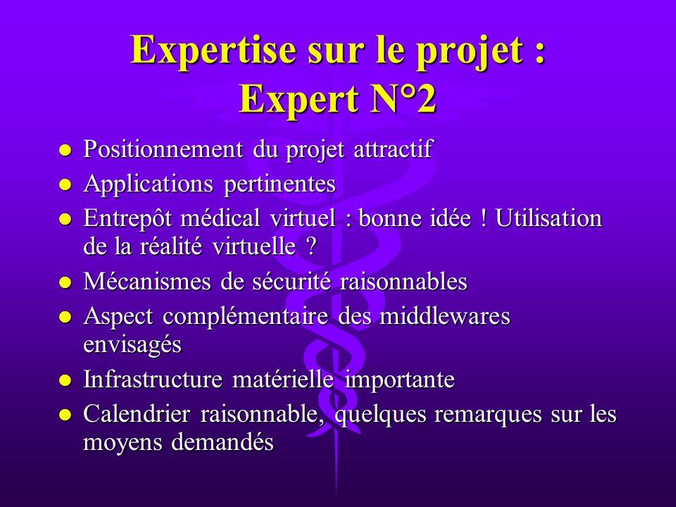 Expertise sur le projet : Expert N°2 l Positionnement du projet attractif l Applications pertinentes l Entrepôt médical virtuel : bonne idée .