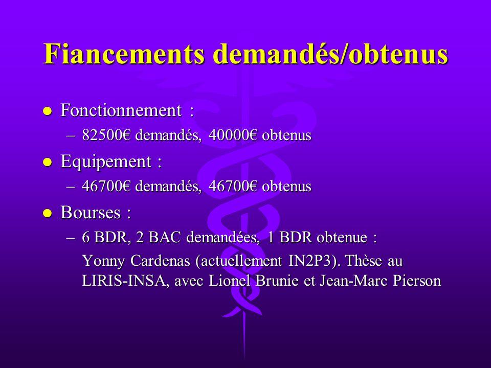 Fiancements demandés/obtenus l Fonctionnement : –82500 demandés, 40000 obtenus l Equipement : –46700 demandés, 46700 obtenus l Bourses : –6 BDR, 2 BAC demandées, 1 BDR obtenue : Yonny Cardenas (actuellement IN2P3).