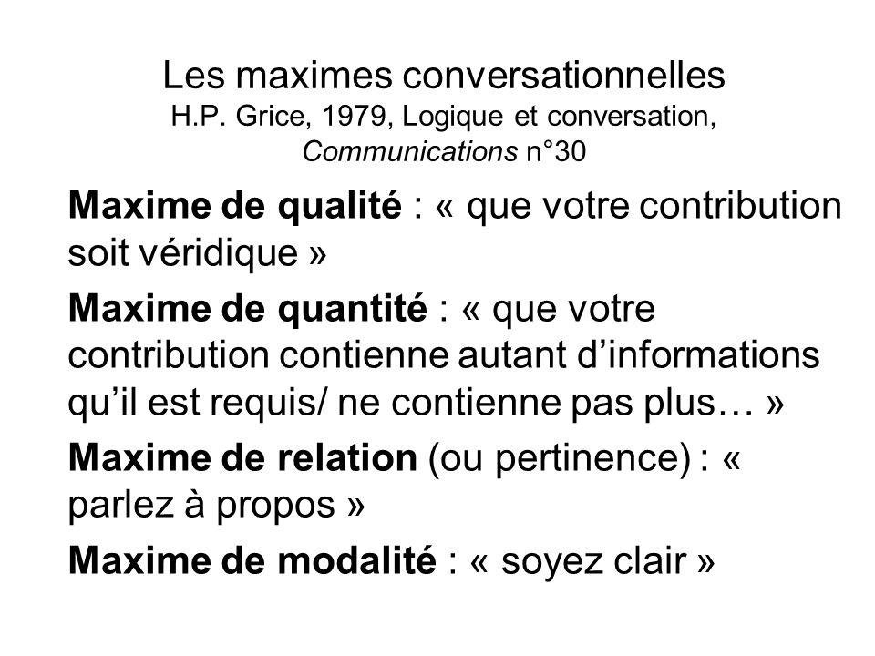Les maximes conversationnelles H.P. Grice, 1979, Logique et conversation, Communications n°30 Maxime de qualité : « que votre contribution soit véridi