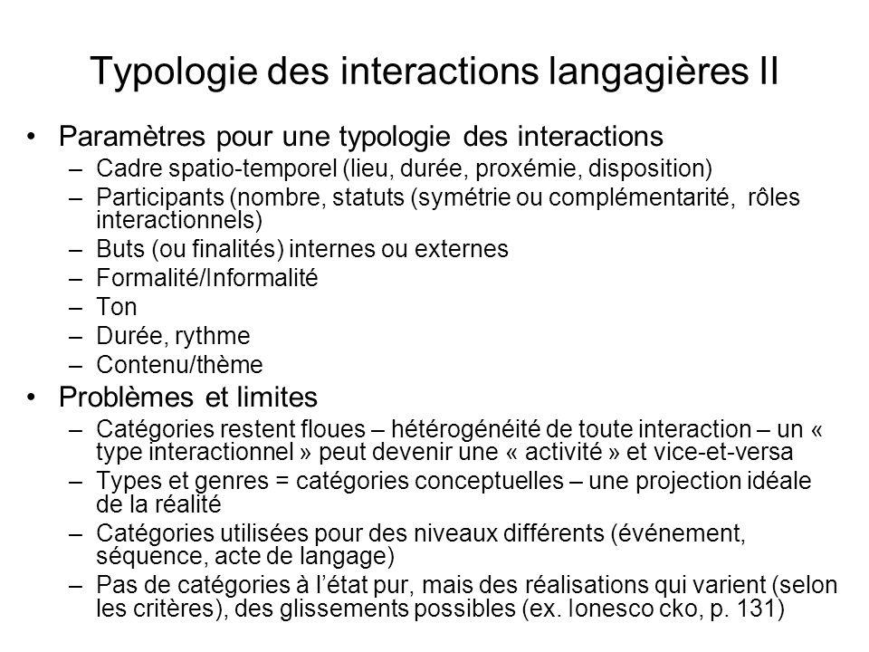 Typologie des interactions langagières II Paramètres pour une typologie des interactions –Cadre spatio-temporel (lieu, durée, proxémie, disposition) –