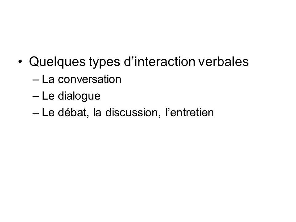 Quelques types dinteraction verbales –La conversation –Le dialogue –Le débat, la discussion, lentretien
