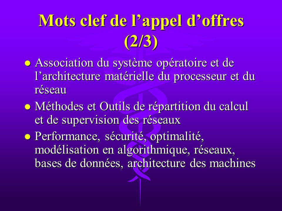 Mots clef de lappel doffres (2/3) l Association du système opératoire et de larchitecture matérielle du processeur et du réseau l Méthodes et Outils de répartition du calcul et de supervision des réseaux l Performance, sécurité, optimalité, modélisation en algorithmique, réseaux, bases de données, architecture des machines