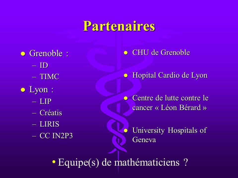 Partenaires l Grenoble : –ID –TIMC l Lyon : –LIP –Créatis –LIRIS –CC IN2P3 l CHU de Grenoble l Hopital Cardio de Lyon l Centre de lutte contre le cancer « Léon Bérard » l University Hospitals of Geneva Equipe(s) de mathématiciens