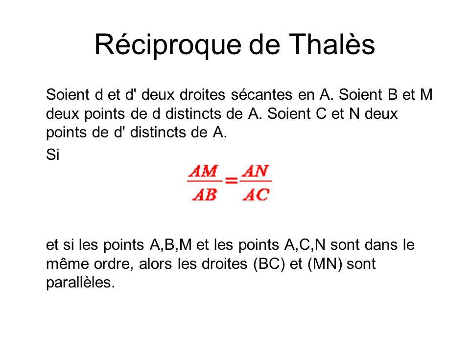 Réciproque de Thalès Soient d et d' deux droites sécantes en A. Soient B et M deux points de d distincts de A. Soient C et N deux points de d' distinc