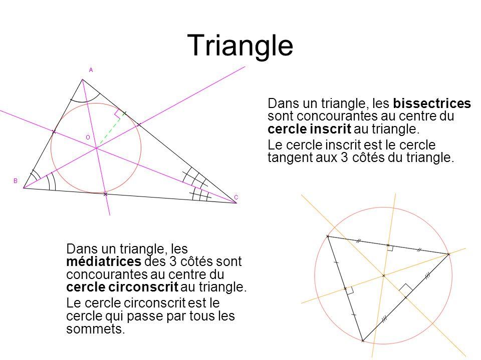 Triangle Dans un triangle, les médiatrices des 3 côtés sont concourantes au centre du cercle circonscrit au triangle. Le cercle circonscrit est le cer