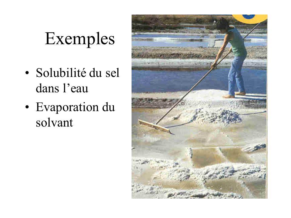 Exemples Solubilité du sel dans leau Evaporation du solvant