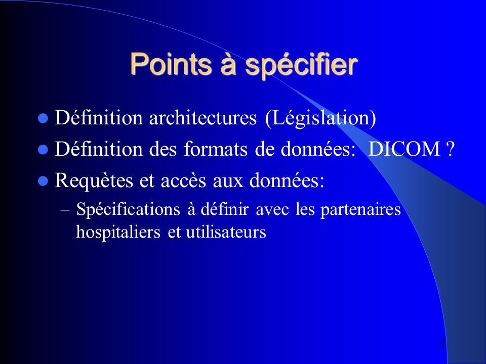 5 Points à spécifier Définition architectures (Législation) Définition des formats de données: DICOM .