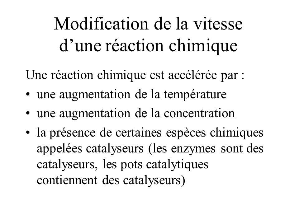 Modification de la vitesse dune réaction chimique Une réaction chimique est accélérée par : une augmentation de la température une augmentation de la