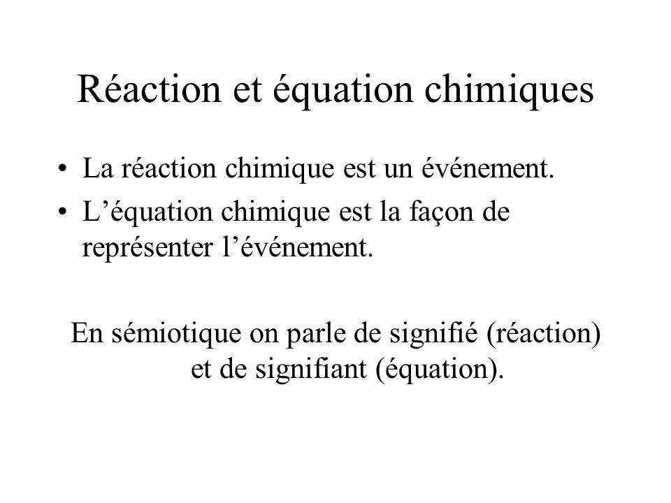 Réaction et équation chimiques La réaction chimique est un événement. Léquation chimique est la façon de représenter lévénement. En sémiotique on parl