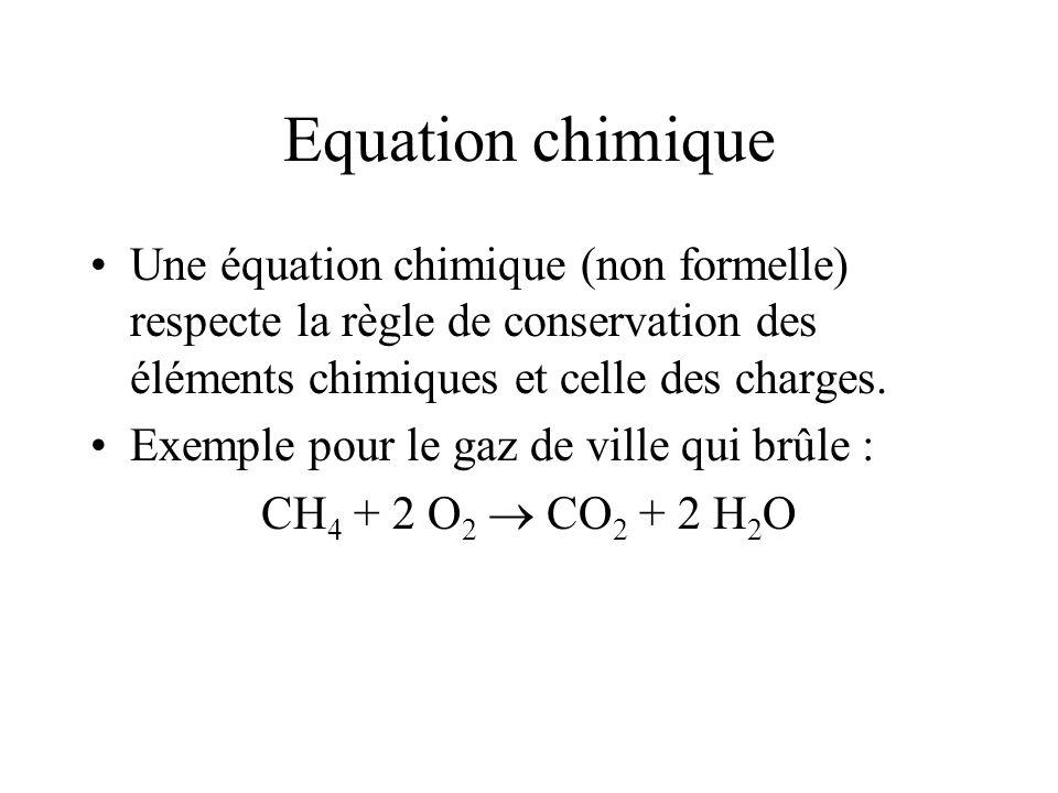 Equation chimique Une équation chimique (non formelle) respecte la règle de conservation des éléments chimiques et celle des charges. Exemple pour le