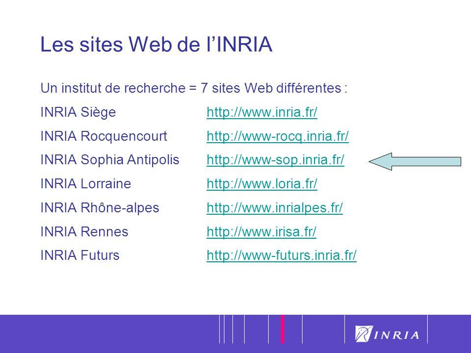 19 Les sites Web de lINRIA Un institut de recherche = 7 sites Web différentes : INRIA Siège http://www.inria.fr/http://www.inria.fr/ INRIA Rocquencourthttp://www-rocq.inria.fr/http://www-rocq.inria.fr/ INRIA Sophia Antipolis http://www-sop.inria.fr/http://www-sop.inria.fr/ INRIA Lorrainehttp://www.loria.fr/http://www.loria.fr/ INRIA Rhône-alpeshttp://www.inrialpes.fr/http://www.inrialpes.fr/ INRIA Renneshttp://www.irisa.fr/http://www.irisa.fr/ INRIA Futurshttp://www-futurs.inria.fr/http://www-futurs.inria.fr/