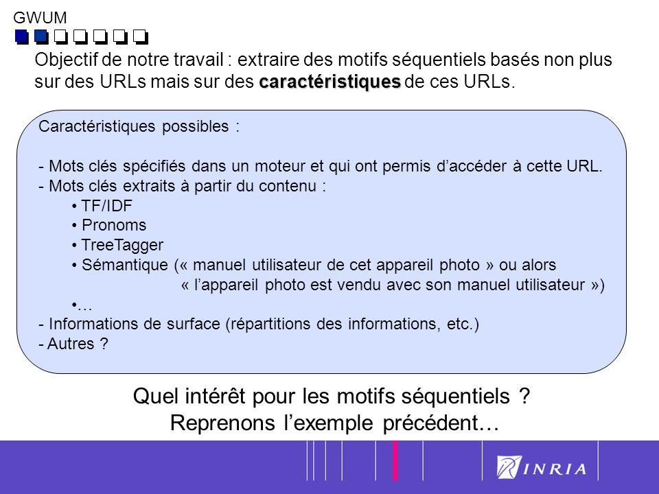 5 Objectif de notre travail : extraire des motifs séquentiels basés non plus caractéristiques sur des URLs mais sur des caractéristiques de ces URLs.