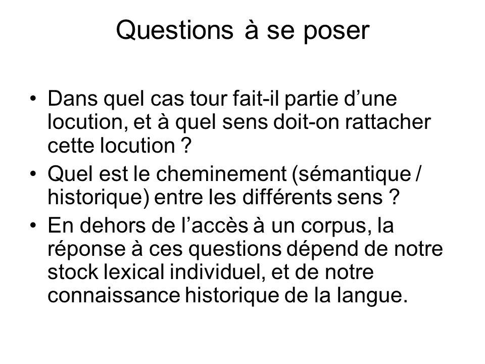 Questions à se poser Dans quel cas tour fait-il partie dune locution, et à quel sens doit-on rattacher cette locution .