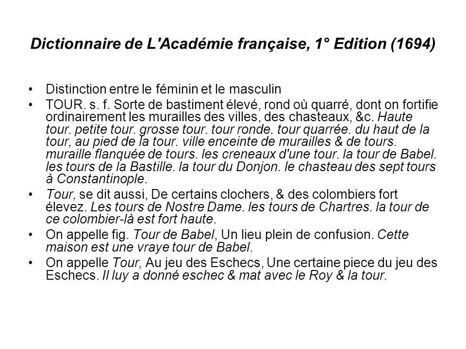 Dictionnaire de L Académie française, 1° Edition (1694) Distinction entre le féminin et le masculin TOUR.