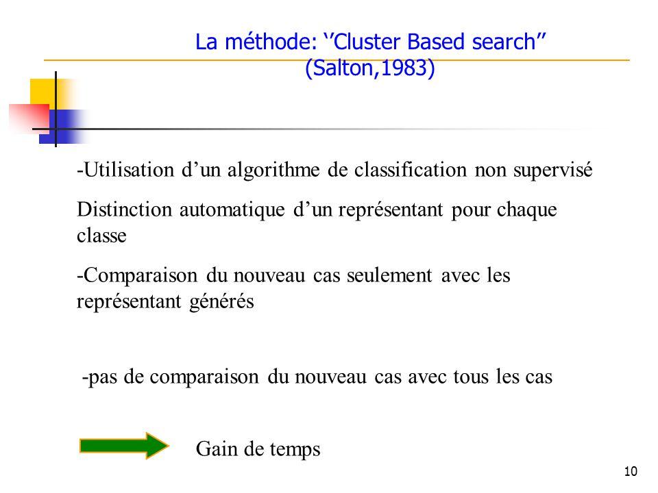 10 -Utilisation dun algorithme de classification non supervisé Distinction automatique dun représentant pour chaque classe -Comparaison du nouveau cas seulement avec les représentant générés -pas de comparaison du nouveau cas avec tous les cas Gain de temps La méthode: Cluster Based search (Salton,1983)