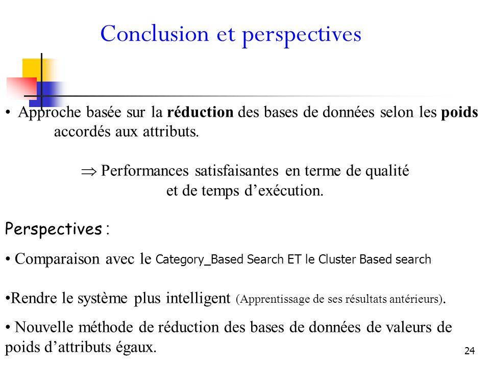 24 Conclusion et perspectives Approche basée sur la réduction des bases de données selon les poids accordés aux attributs.