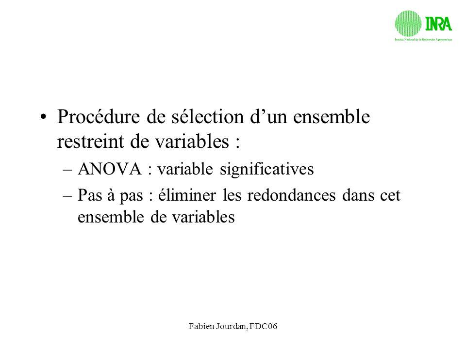 Fabien Jourdan, FDC06 Procédure de sélection dun ensemble restreint de variables : –ANOVA : variable significatives –Pas à pas : éliminer les redondan