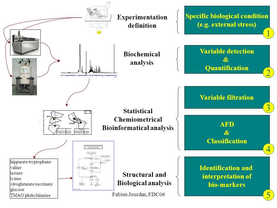 Fabien Jourdan, FDC06 Variable detection & Quantification Biochemical analysis Variable filtration AFD & Classification Statistical Chemiometrical Bio