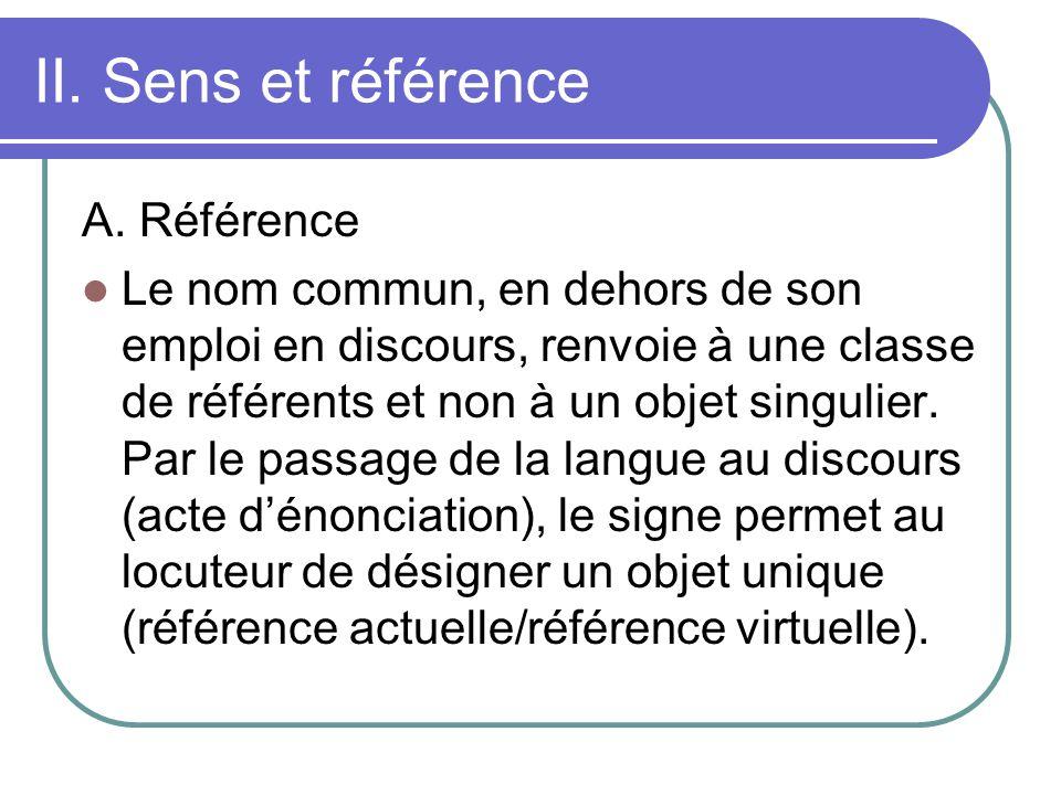 II. Sens et référence A. Référence Le nom commun, en dehors de son emploi en discours, renvoie à une classe de référents et non à un objet singulier.
