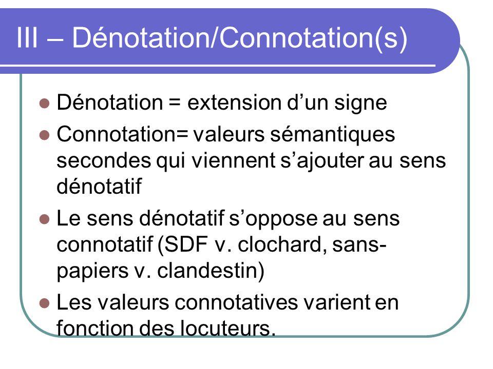 III – Dénotation/Connotation(s) Dénotation = extension dun signe Connotation= valeurs sémantiques secondes qui viennent sajouter au sens dénotatif Le