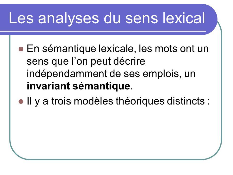 Les analyses du sens lexical En sémantique lexicale, les mots ont un sens que lon peut décrire indépendamment de ses emplois, un invariant sémantique.