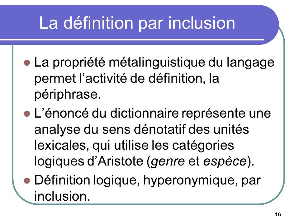 La définition par inclusion La propriété métalinguistique du langage permet lactivité de définition, la périphrase. Lénoncé du dictionnaire représente