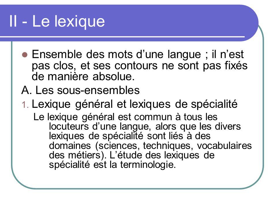 II - Le lexique Ensemble des mots dune langue ; il nest pas clos, et ses contours ne sont pas fixés de manière absolue. A. Les sous-ensembles 1. Lexiq