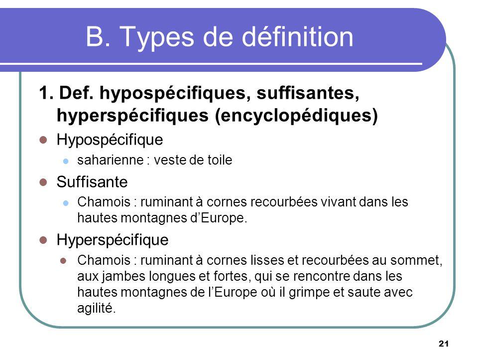 B. Types de définition 1. Def. hypospécifiques, suffisantes, hyperspécifiques (encyclopédiques) Hypospécifique saharienne : veste de toile Suffisante