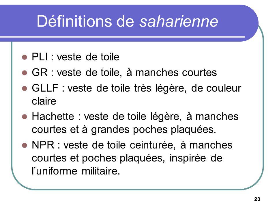 Définitions de saharienne PLI : veste de toile GR : veste de toile, à manches courtes GLLF : veste de toile très légère, de couleur claire Hachette :