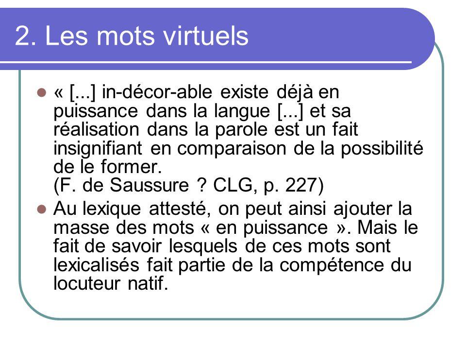 2. Les mots virtuels « [...] in-décor-able existe déjà en puissance dans la langue [...] et sa réalisation dans la parole est un fait insignifiant en