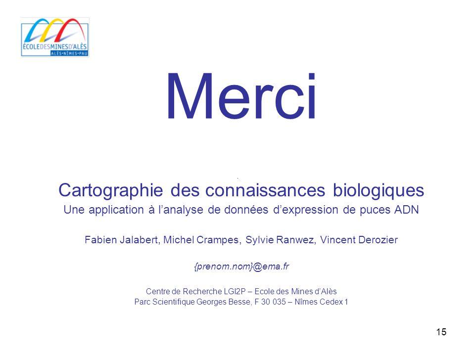 15 Cartographie des connaissances biologiques Une application à lanalyse de données dexpression de puces ADN Fabien Jalabert, Michel Crampes, Sylvie R