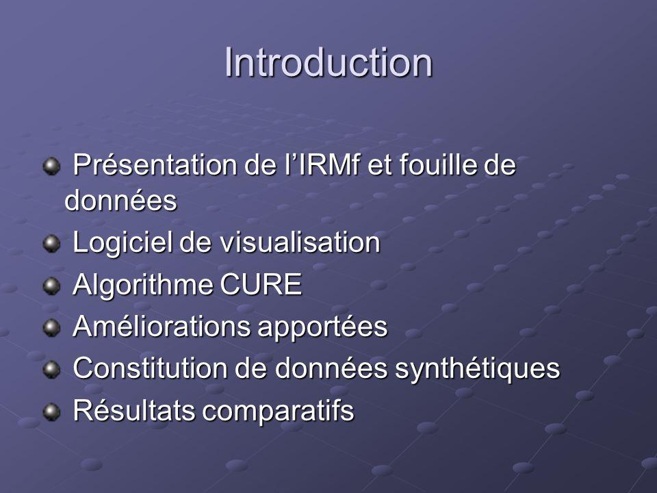 Introduction Présentation de lIRMf et fouille de données Présentation de lIRMf et fouille de données Logiciel de visualisation Logiciel de visualisati