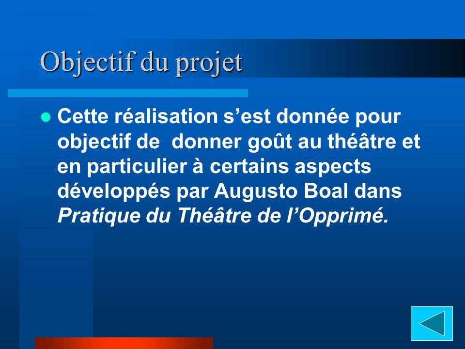 Objectif du projet Cette réalisation sest donnée pour objectif de donner goût au théâtre et en particulier à certains aspects développés par Augusto Boal dans Pratique du Théâtre de lOpprimé.